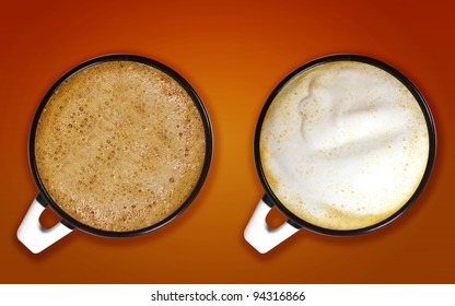 Two cups of cappuccino with big foam on orange background.