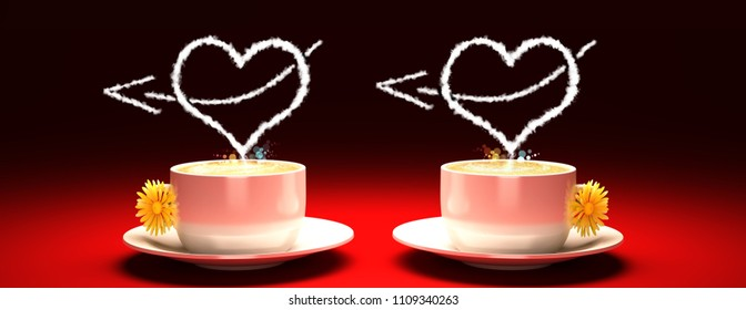 Two cups of fragrant coffee