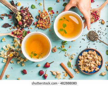 Two cups of healthy herbal tea with mint, cinnamon, dried rose and camomile flowers in different spoons and woman's hand holding one cup over blue wooden background, top view