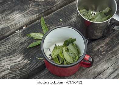 Two cups with peppermint tea. Fresh peppermint leaves. Wooden rustic background. Copy space.