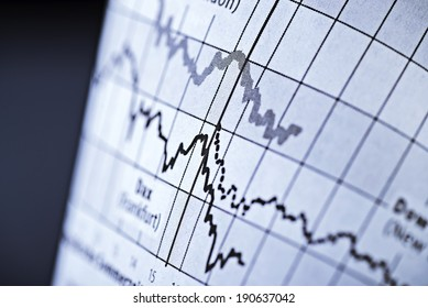 Two curves show the course of share prices on the stock exchange.