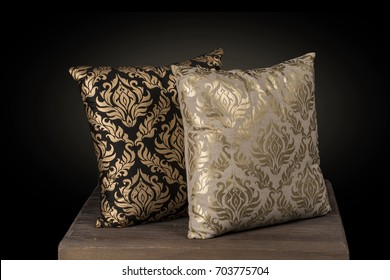 Two Cushion pillows hand embroidered silk threads print in Gold color  and beautiful abstract floral pattern for layering over bed linen or sofa.
