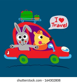 Two cute animals are on the way with red car.
