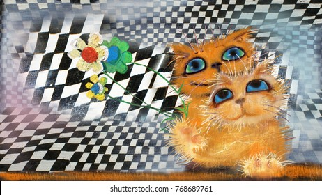 Two cute cats with the flowers on chess background