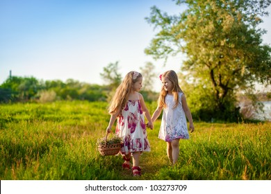 Two cute little girls walking on the lawn
