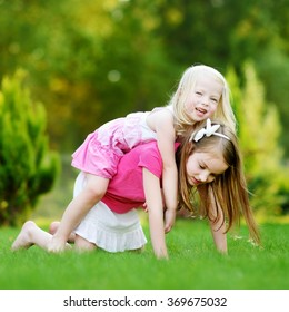 Two cute little sisters having fun together on the grass on a sunny summer day
