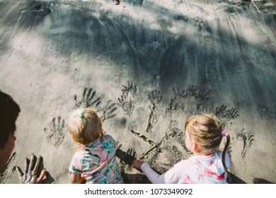 Two Cute Little Sisters Playing Sand Tropical Beach