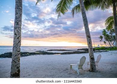 Two deck chairs on an empty beach at Lefaga, Matautu, Upolu Island, Western Samoa, South Pacific - landscape orientation