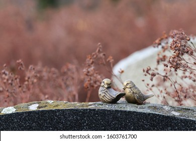 Two decorative metal birds on top of a gravestone. The gravestone is covered by lichen and moss. Behind the birds, there are other graves and plants. Concepts of death, time, faith and family.