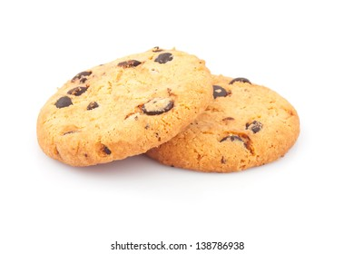Two delicious cookies with chocolate chips on white background, food photos