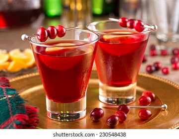 Two delicious cranberry cocktails with cranberry juice and lemon.