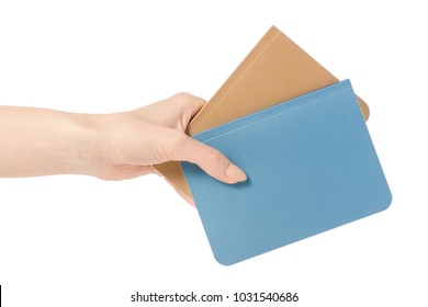 Two diary notebook in hand on white background isolation