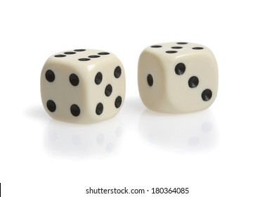 Two dice on white background