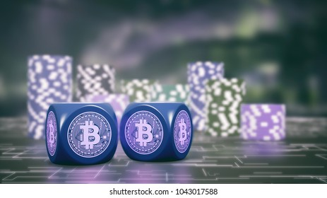 two dices with bitcoin symbol and stacks of chips on background, concept of betting with cryptocurrencies (3d render)