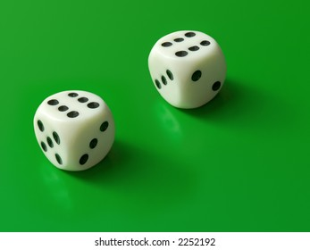 Two dices (only six) on green background