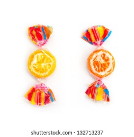 two different candies on white