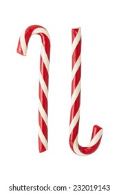 Two different candycanes isolated on white