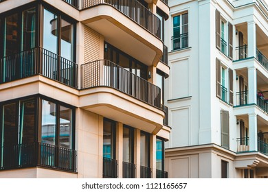 two different facades of modern apartment houses