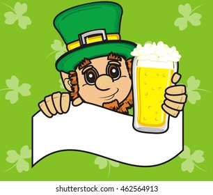 two  different  glasses of beer near the horseshoe with clover on a wooden board with inscription happy St. Patrick's day