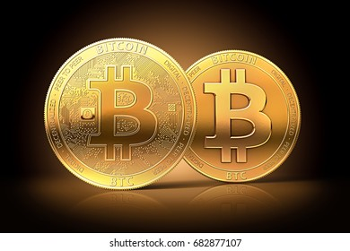 Two different golden bitcoins as possible split of bitcoin cryptocurrency into two currencies. Bitcoin fork concept.