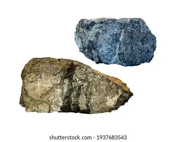 Two different mountain rock isolated on white background