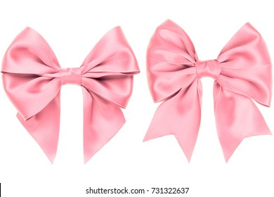 Two different pink silk bow for present on white background
