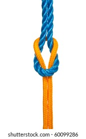 Two different ropes tied together with a reef or square knot - isolated on white