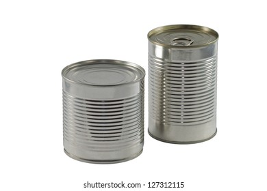 Two Different Size of Cans Isolated on White Background