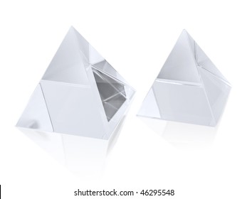 Two different size clear transparent crystal pyramids on white - Shutterstock ID 46295548