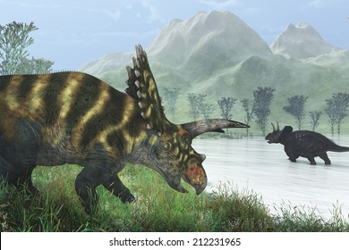 Two dinosaurs, a Coahuilaceratops and a Diceratops out wandering on a hazy prehistoric afternoon.