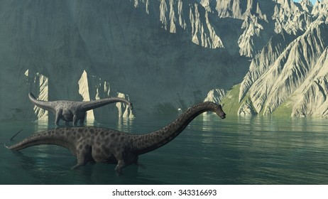 Two diplodocus dinosaurs at the base of a rocky cliff - 3d render.