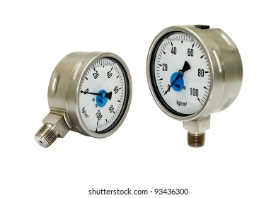 Two disconnected pressure gauges isolated on white
