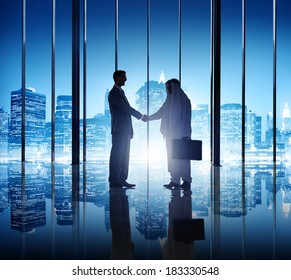 Two Diverse Businessmen Shaking Hand in New York