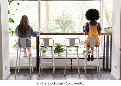 Two diverse young women sit apart at cafe table, African and Caucasian ladies working or studying, dining in cafeteria avoiding communication, social distancing safety indoor concept, back view.