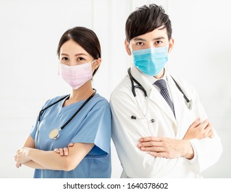 two doctors faces wearing protective mask