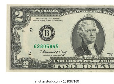Two dollar bill issued in 1976 to commemorate the bicentenary U.S.