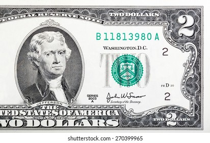 Two dollar bill issued in 2003 to commemorate the bicentenary U.S.