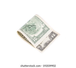 Two dollars bill. Isolated on a white background.