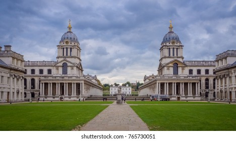 The two domed towers of the Old Royal Naval College, Greenwich, London