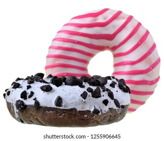 Two donut covered with icing Isolated on white background