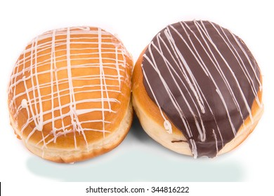 Two donuts with chocolate glaze.Isolated on white background