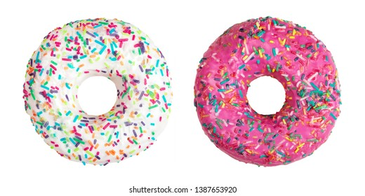 Two donuts decorated with colorful sprinkles isolated on white background