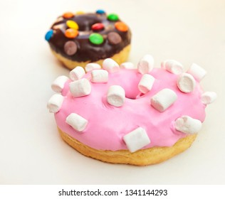 Two donuts isolated on the white background