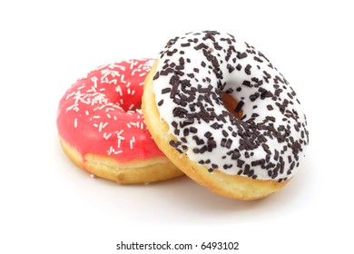 Two donuts isolated on white