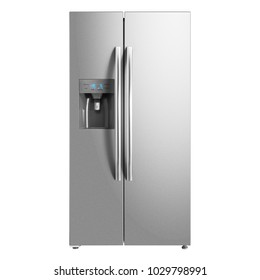 Two Door Refrigerator Isolated on White Background. Domestic Appliances. Smart Refrigerator. Front View of Stainless Steel American-Style Fridge Freezer. Electric Appliances. Kitchen Appliances