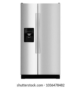 Two Door Refrigerator Isolated on White Background. Front View of Stainless Steel French Door Fridge Freezer. Side-By-Side Counter-Depth Refrigerator. Domestic Appliances. Kitchen Appliances
