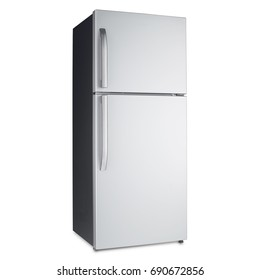 Two Door Refrigerator Isolated on White Background. Domestic Appliances. Side View of Stainless Steel Fridge Freezer. Electric and Kitchen Appliances