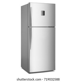 Two Door Refrigerator Isolated on White Background. Side View of Stainless Steel Side-by-Side Fridge Freezer. Electric and Domestic Appliances