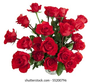 Two dozen red roses isolated on white background with the green stems in a large glass vase with water. Copyspace on all four sides.