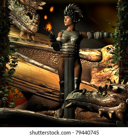 Two Dragons watch with curious intent as a beautiful Oriental Warrior woman leans against ivy covered columns juggling balls of fire. Illustration